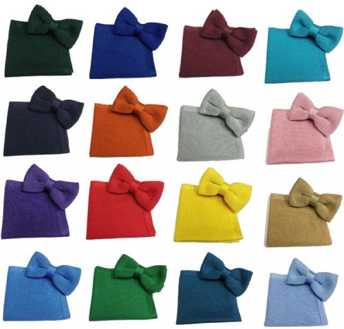 Men's Knit Knitted Knitting Bow Tie + Pocket Square Handkerchief Hanky Set UK